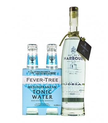 Harbour Gin Español 40º + Fever Tree Mediterranean 4Pack